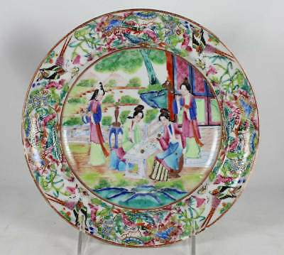 Early 19C Antique Chinese Porcelain Plate Famille Rose Mandarin