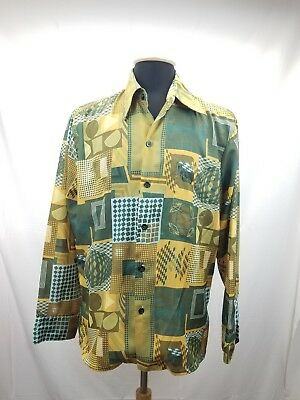 Vtg 70s SPIRE Print Disco Shirt Mod Hippie Medium Earthy Geometric Mens Dance