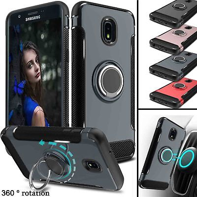 For Samsung Galaxy J7 V 2018/Crown/Star Hybrid Ring Stand TPU Phone Case Cover