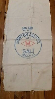 VINTAGE MORTON SALT CLOTH SACK BAG 100LB CHICAGO seed feed sign
