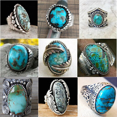 925 Sterling Silver Turquoise Gems Rings Men Women Wedding Party Gypsy Size 6-10