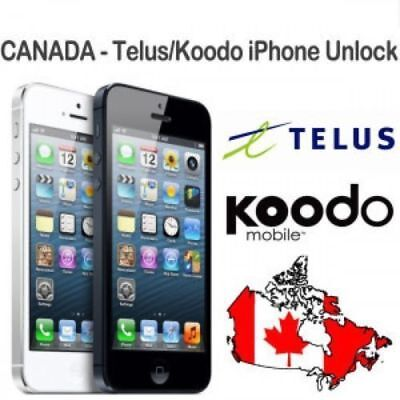Telus Koodo iPhone 5,5S,6,6+,6S,6S+,7,7+,8,8+,X fast 1 to 7 hours all imei cheap