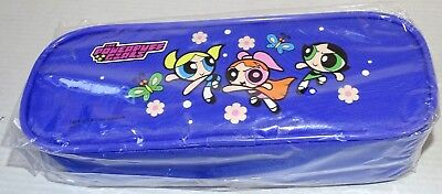 "Cartoon Network Powerpuff Girls Blue Violet Pencil Case Bag New 8"" x 3"" x 2"" New"