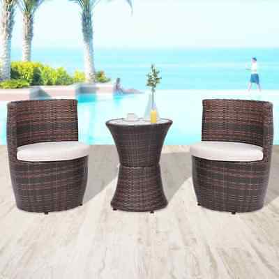 Outdoor Rattan Patio Bistro Set Table and 2 Chairs 5 Piece Set with Seat Cushion
