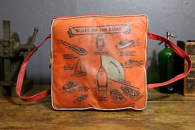 """Vintage Sears & Roebuck Buoyant Red Boat Cushion """"Rules of the Road"""" Lake House"""