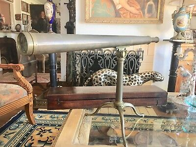 Rare Antique 18Th Century English W & S  Jones  Brass Telescope In A Fitted Box