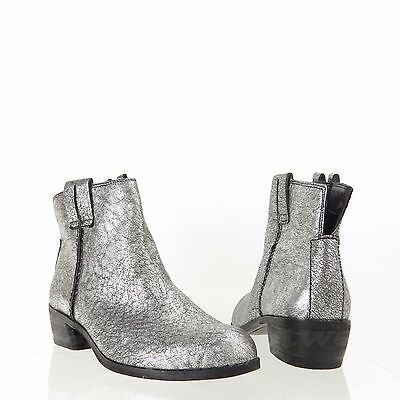 590759bfc Sam Edelman James Womens Shoes Silver Leather Round Toe Ankle Boots Sz 6.5 M  NEW