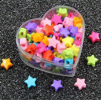 DIY 100X Mixed Colors Acrylic Star Beads baby Pacifier clip Jewelry Accessories