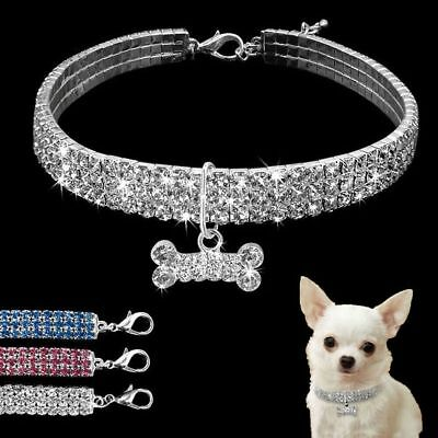 Crystal Dog Necklace Collar Rhinestone Jeweled Puppy Necklace Diamante Pets Cats