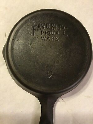 # 2 Favorite Piqua Ware Cast Iron Skillet Vert Hard To Find