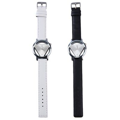 Stainless Steel Hollow Triangule Dial PU Leather Band Quartz Wrist Watch MAD