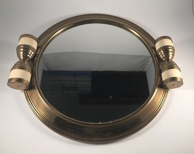 French Art Deco Cream Bakelite & Bronze Anodised Metal Mirrored Cocktail Tray