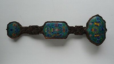 "22"" Antique 19th. Century Chinese Carved Wood Cloisonne Enamel Large Ruyi"