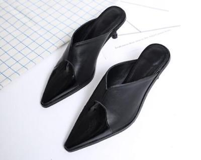Women Kitten Mid Heel Pointed Toe Solid Black Casual Shoes Formal Work Chic