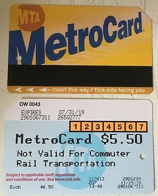 2 Collectible NYC Metrocard issued by Metro North MTA, no value remaining