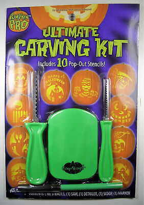 Halloween Pumpkin  Ultimate Carving Kit 10 Pop-Out Stencils Brand-New