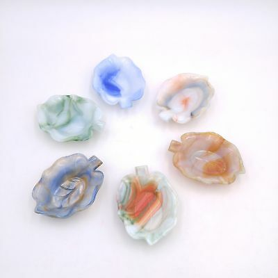 Lot of 6 Leaf Shaped Akro Agate Ashtray Soapdish Trays - Green, Blue, Red Swirl
