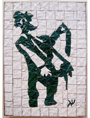 VINTAGE Judaica ORIGINAL MOSAIC ART PIECE Israel JEWISH PEDDLER Hebrew SIGNED