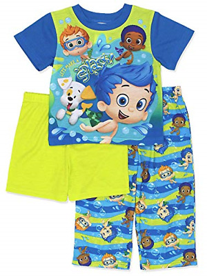 Bubble Guppies Toddler Boys 3 piece Shorts Pajamas Set 2T, Blue/Green by