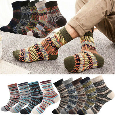 Mens National Stripe Warm Winter Thick Wool Rabbit Blend Cashmere Casual Socks