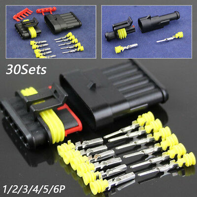 30Set Sealed Waterproof Truck1 2 3 4 5 6Pin Electrical Wire Connector Plug