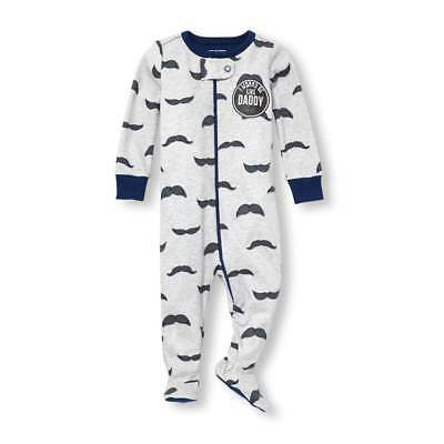 NWT The Childrens Place Mustache Boys Footed Stretchie Sleeper Pajamas ec46bbe4d