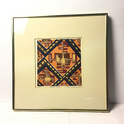 Vtg Original Abstract Art Print Limited Edition Lithograph Signed Nancy Powell