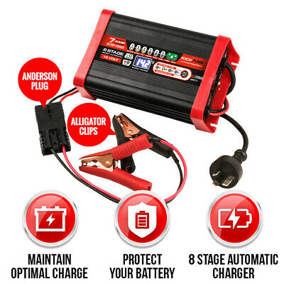 KICKASS 12V 7 Amp Automatic Smart Battery Charger 8 Stage Trickle Maintenance