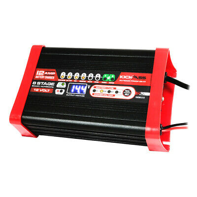 KICKASS 12V 12 Amp  Battery Charger Smart 8 Stage Automatic AGM Trickle