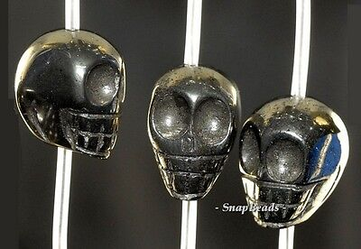 Palazzo Iron Pyrite Gemstone Carved Skull Head 14X14Mm Loose Beads 15.5""