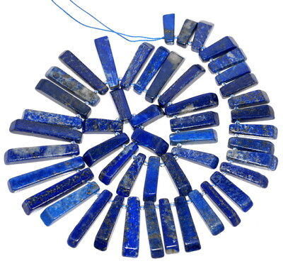 45X8-22X7Mm Lapis Lazuli Gemstone Grade A Graduated Stick Loose Beads 16.5""