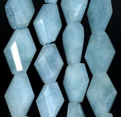 21X13-18X12MM  AQUAMARINE GEMSTONE GRADE A FACETED NUGGET LOOSE BEADS 15.5/""