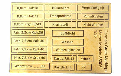 1:35 scale photo-etch German Crate Markings (airbrush templates)