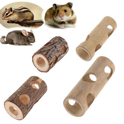 Wooden/Bamboo Adventure Tunnel Toy with Peep Holes for Mice, Gerbils Hamsters