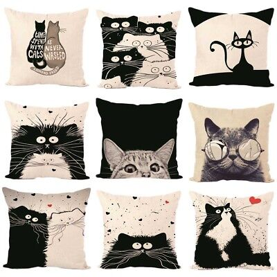 Cat Pet Cotton Pillow Case Sofa Waist Throw Cushion Cover Home Car Decor UK NEW