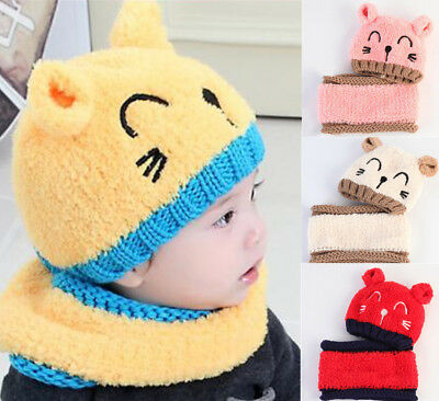 Baby Toddler Girls Boys Infant Warm Winter Knit Beanie Hats Scarf and Cap Bear