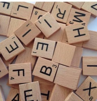 100 wooden black letters SCRABBLE tiles for crafts wood alphabets tiles toy UK