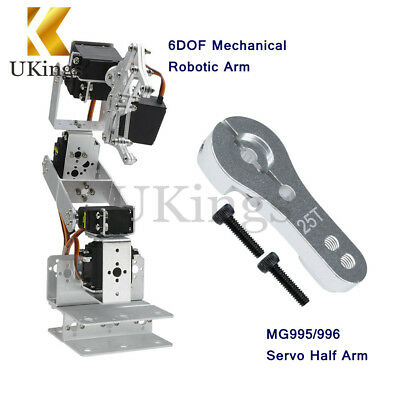 ROT3U 6DOF Mechanical Robotic Arm Clamp Claw Aluminium Robot Silver For Arduino