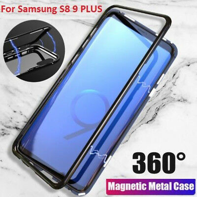 For Samsung Galaxy Note 9/8 S9 S8 Plus Magnetic Edge Phone Case Back Glass Cover