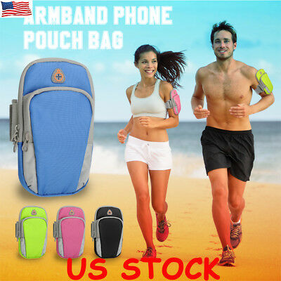 Universal Sport Running Riding Arm band Case Holder Zipper Bag For Cell Phone US