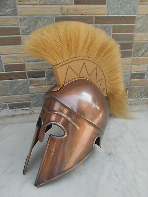 Corinthian Greek Spartan Copper Finish White Plume Helmet Reenactment Replica