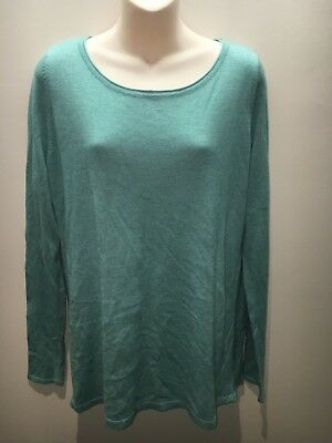 Esprit Turquoise Green Long Sleeve Round Boat Neck Jumper Size XL Fit 12 14