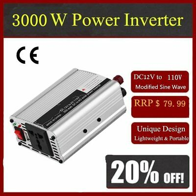 Car Power Inverter 1500W 12V DC to 110V AC Converter USB Battery Charger HP