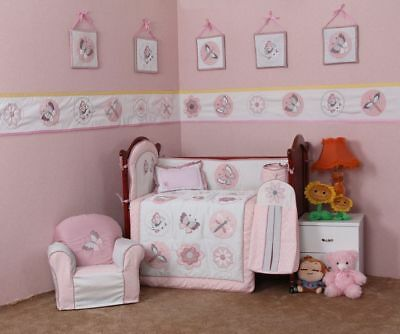 6 Pieces Baby Bedding Set Embroidery Butterfly Baby Crib Nursery Bedding Set