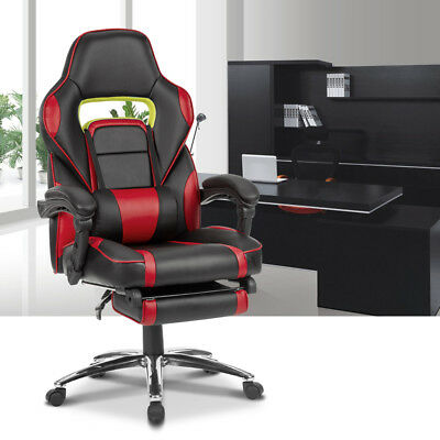 VERSATILE Ergonomically Gaming Racing Chair Adjustable Faux Leather w/Footrest