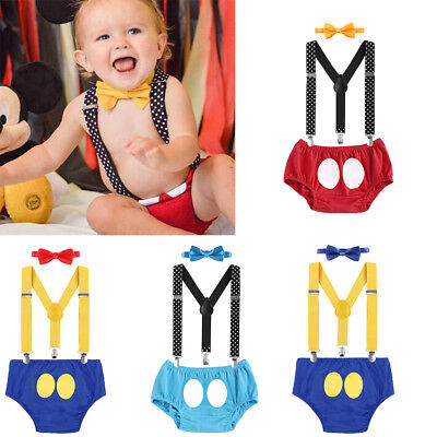 Cake Smash Outfits Mickey Mouse Donald Duck 1st Birthday Baby Boy Photo Costume