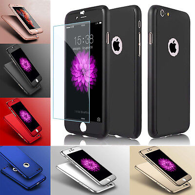 New Hybrid 360° Shockproof Case Tempered Glass Cover For Apple iPhone 7 5s 6s SE