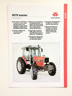 Massey Ferguson 3075 2&4 WD Tractor Technical Specification Sheet published 1993