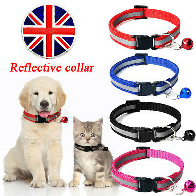 Gloss Reflective Safety Buckle Pet Collar with Bell for Small Puppy Cat Kitten