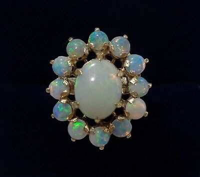 Vintage Large Opal Cluster Ring 18ct Yellow Gold - Small Size J (US 4.75)